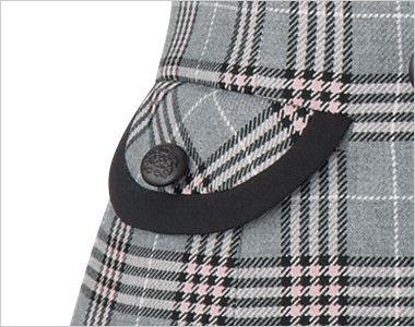 en joie(アンジョア) 11605 [通年]優しさと可愛らしさのあるダブルのチェック柄ベスト パイピングにデザインボタンでおしゃれなフラップポケット