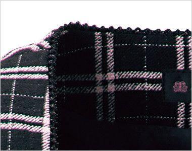 en joie(アンジョア) 11610 [通年]黒とチェックの華やかベスト チェック ラメ入りテープで上品な印象に仕上げたスクエアネックの衿元