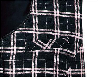 en joie(アンジョア) 11610 [通年]黒とチェックの華やかベスト チェック ボールペンなどの収納に最適なポケット