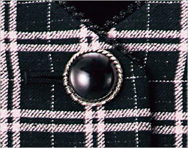 en joie(アンジョア) 11610 [通年]黒とチェックの華やかベスト チェック ツヤのある大きめのシルバー縁のボタン