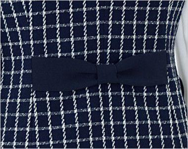 en joie(アンジョア) 11630 [通年]チェック柄に印象的なボタンのベスト リボンデザインで後ろ姿まですっきりかわいい背ベルト