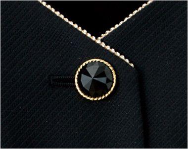 en joie(アンジョア) 11650 [通年]黒&ゴールドのあしらいがハイクラスなペプラムのベスト 無地 キラキラ光る黒いボタンにエレガントさを引き立てるゴールド縁のボタン