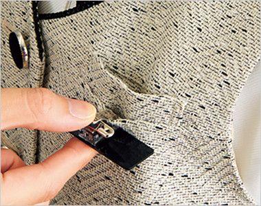 en joie(アンジョア) 11680 [通年]ほんのり甘いミックスツイードのベスト 胸ポケットにペンをさしても名札が邪魔にならない実用性の高い名札ポケット