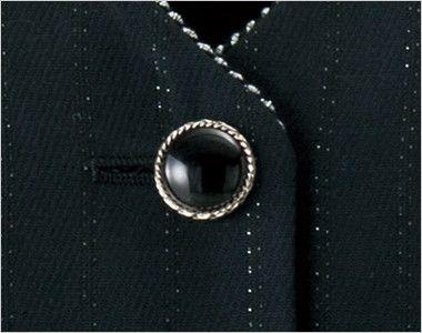 en joie(アンジョア) 11700 [通年]ウエストのペプラムでスタイルアップのストライプ柄ベスト シルバー縁の艷やかな黒ボタン