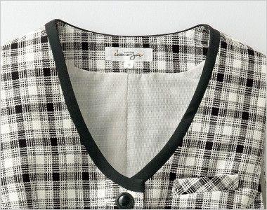 en joie(アンジョア) 16320 [春夏用]白ベースの爽やかチェック柄のベスト 小顔効果のある黒いパイピングで引き締めた襟元