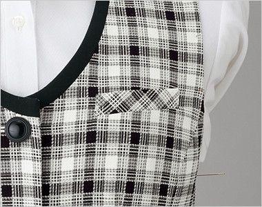 en joie(アンジョア) 16320 [春夏用]白ベースの爽やかチェック柄のベスト 左胸ポケット