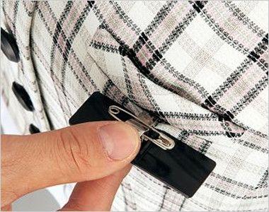 en joie(アンジョア) 16360 [春夏用]清潔感・信頼感のある医療事務に人気のチェック柄ベスト ネームプレートとペンが別にできる名札ポケットと左胸ポケット