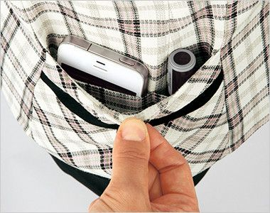 en joie(アンジョア) 16360 [春夏用]清潔感・信頼感のある医療事務に人気のチェック柄ベスト 印鑑やスマホも入る高機能のポケット