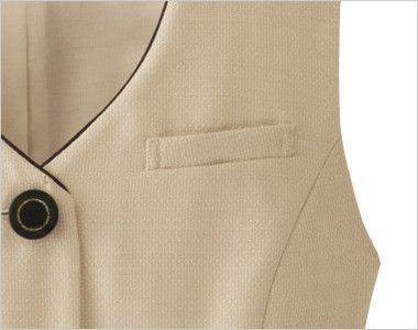 en joie(アンジョア) 16370 [春夏用]医療現場にぴったりのミルクティー色で安心感のあるベスト 無地 ネームプレートとペンが別にできる名札ポケットと左胸ポケット