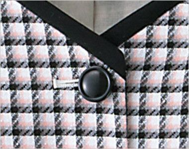en joie(アンジョア) 16390 [春夏用]清楚で落ち着いた癒やしのチェック柄ベスト シンプルな黒ボタン