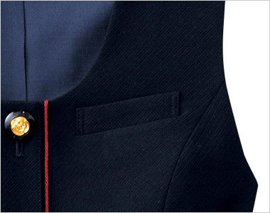en joie(アンジョア) 16460 [通年]濃紺に赤のパイピング!ペプラムスタイルの無地ベスト ネームプレートとペンを区分けできる名札ポケットと左胸ポケット