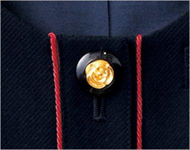 en joie(アンジョア) 16460 [通年]濃紺に赤のパイピング!ペプラムスタイルの無地ベスト 高級感ただようバラのような花が中心にゴールドで演出された黒ボタン
