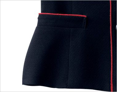 en joie(アンジョア) 16460 [通年]濃紺に赤のパイピング!ペプラムスタイルの無地ベスト 赤パイピングで洗練された印象で、上から出し入れ出来るポケット