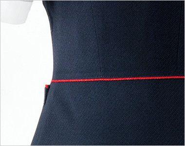 en joie(アンジョア) 16460 [通年]濃紺に赤のパイピング!ペプラムスタイルの無地ベスト 赤パイピングで腰高効果をアップします!