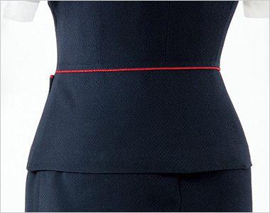 en joie(アンジョア) 16460 [通年]濃紺に赤のパイピング!ペプラムスタイルの無地ベスト ペプラムの切替で後ろ姿をすっきり美人に