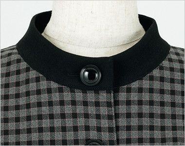 en joie(アンジョア) 21000 [通年]スタンドカラーのチェック柄長袖オーバーブラウス チェック 小顔効果のある太めの黒いスタンドカラー