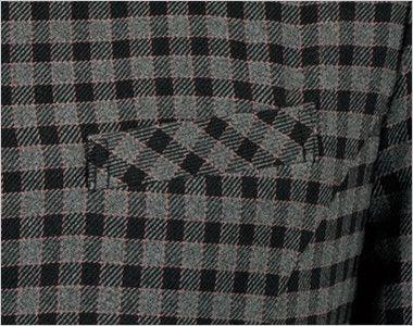 en joie(アンジョア) 21000 [通年]スタンドカラーのチェック柄長袖オーバーブラウス チェック 左胸ポケット