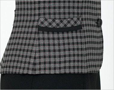 en joie(アンジョア) 21000 [通年]スタンドカラーのチェック柄長袖オーバーブラウス チェック リボンのような両脇ポケット