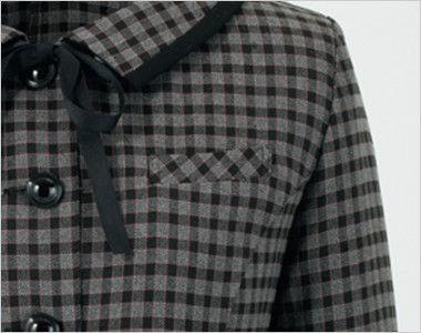 en joie(アンジョア) 21005 [通年]可愛いチェック柄の長袖オーバーブラウス チェック(リボン付) 左胸ポケット