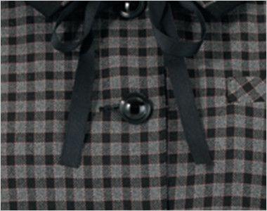 en joie(アンジョア) 21005 [通年]可愛いチェック柄の長袖オーバーブラウス チェック(リボン付) シンプルな黒ボタン