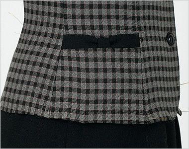 en joie(アンジョア) 21005 [通年]可愛いチェック柄の長袖オーバーブラウス チェック(リボン付) リボンのような両脇ポケット
