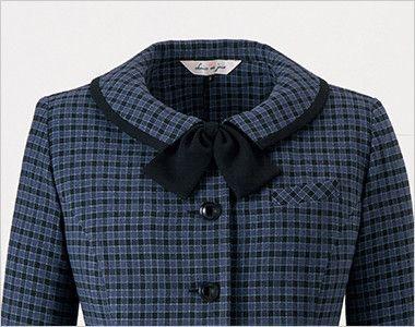 en joie(アンジョア) 21010 [秋冬用]寒い時期にオススメ!落ち着きあるチェック柄の長袖オーバーブラウス(リボン付) かわいい黒リボン(無料で同梱します)