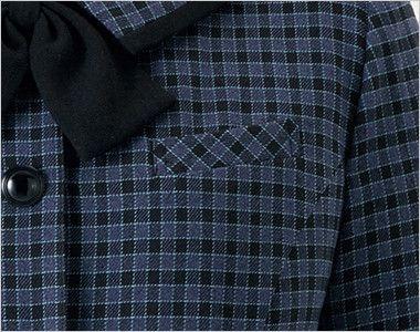 en joie(アンジョア) 21010 [秋冬用]寒い時期にオススメ!落ち着きあるチェック柄の長袖オーバーブラウス(リボン付) 左胸ポケット