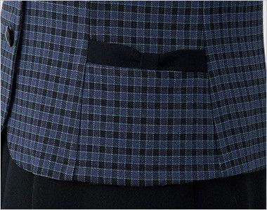 en joie(アンジョア) 21010 [秋冬用]寒い時期にオススメ!落ち着きあるチェック柄の長袖オーバーブラウス(リボン付) リボンのような両脇ポケット
