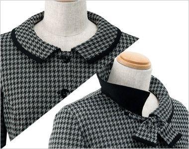 en joie(アンジョア) 21900 長袖オーバーブラウス(リボン取り外し可能) ツイードチドリ 首元のリボンは取り外し可能な2WAYスタイル。リボンを外してスッキリシンプルに着て頂けます。