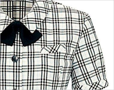 en joie(アンジョア) 26110 [春夏用]ふくらみある綿混素材で快適べたつかないオーバーブラウス チェック ポケット