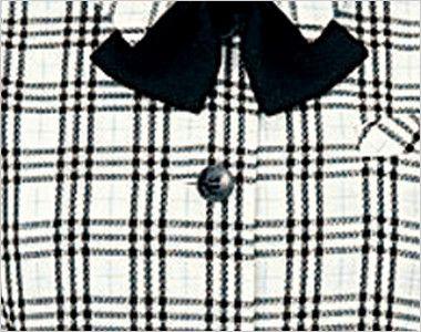 en joie(アンジョア) 26110 [春夏用]ふくらみある綿混素材で快適べたつかないオーバーブラウス チェック シンプルな黒ボタン