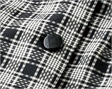 en joie(アンジョア) 26145 [春夏用]ドライタッチな質感&軽やかで夏も爽やかチェック柄オーバーブラウス 光沢のある黒いボタン
