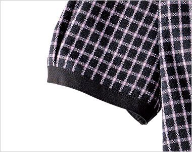 en joie(アンジョア) 26250 [春夏用]清楚な雰囲気を演出する小花チェック柄のオーバーブラウス 細見え効果の黒い袖口