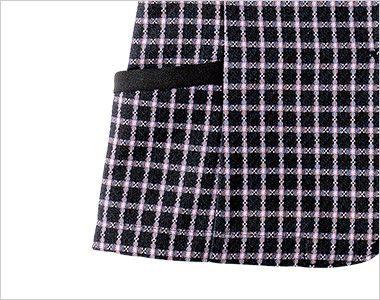 en joie(アンジョア) 26255 広めのラウンドネックで夏も涼しいチェック柄オーバーブラウス 小物収納に便利なポケット