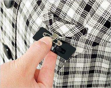 en joie(アンジョア) 26320 [春夏用]爽やかチェックと大きめボタンがキュートなオーバーブラウス ネームプレートとペンなどを区分け収納できる名札ポケットと左胸ポケット
