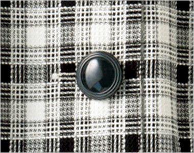 en joie(アンジョア) 26320 [春夏用]爽やかチェックと大きめボタンがキュートなオーバーブラウス 宝石のようなふくらみのある黒ボタン