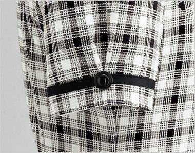 en joie(アンジョア) 26320 [春夏用]爽やかチェックと大きめボタンがキュートなオーバーブラウス ボタンと黒テープでタックをつくり大人可愛い袖口