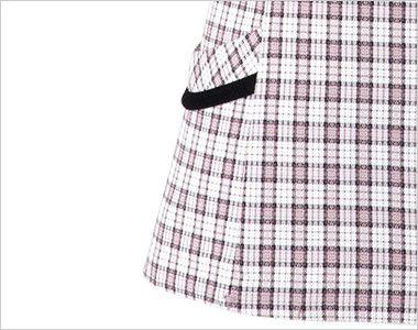 en joie(アンジョア) 26350 [春夏用]リボンモチーフの襟が大人かわいいチェック柄のオーバーブラウス 小物収納に便利なポケット