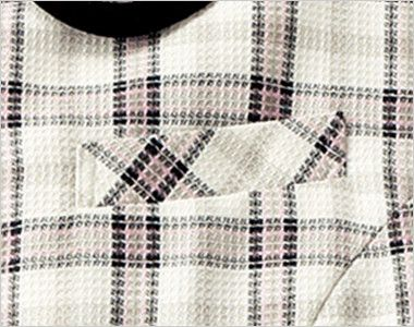 en joie(アンジョア) 26360 [春夏用]ラウンドカラーと優しい色合いのチェック柄オーバーブラウス ネームプレートとペンなどを区分け収納できる名札ポケットと左胸ポケット