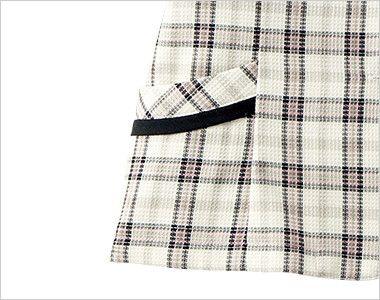 en joie(アンジョア) 26360 [春夏用]ラウンドカラーと優しい色合いのチェック柄オーバーブラウス 小物収納に便利なポケット