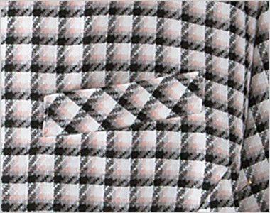 en joie(アンジョア) 26390 [春夏用]丸襟とポケットのリボンがかわいいチェック柄オーバーブラウス ネームプレートとペンなどを区分け収納できる名札ポケットと左胸ポケット