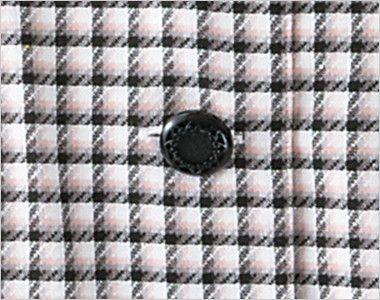 en joie(アンジョア) 26390 [春夏用]丸襟とポケットのリボンがかわいいチェック柄オーバーブラウス 高級感のある模様が印象的な黒ボタン