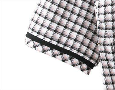 en joie(アンジョア) 26390 [春夏用]丸襟とポケットのリボンがかわいいチェック柄オーバーブラウス すっきりしあげた黒テープ