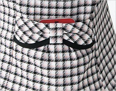en joie(アンジョア) 26390 [春夏用]丸襟とポケットのリボンがかわいいチェック柄オーバーブラウス 大きめスマホが入るポケット