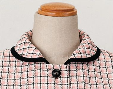 en joie(アンジョア) 26440 [春夏用]ふんわり優しい印象のチェック柄オーバーブラウス(リボン付) リボンを外したときの襟元