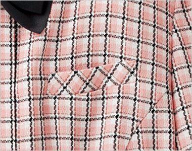 en joie(アンジョア) 26440 [春夏用]ふんわり優しい印象のチェック柄オーバーブラウス(リボン付) ポケット