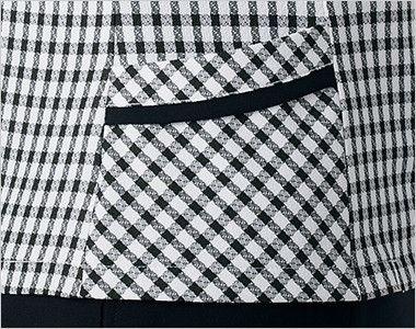 en joie(アンジョア) 26450 [春夏用]ギンガムチェックのオーバーブラウス(リボン付) 小物収納に便利なポケット