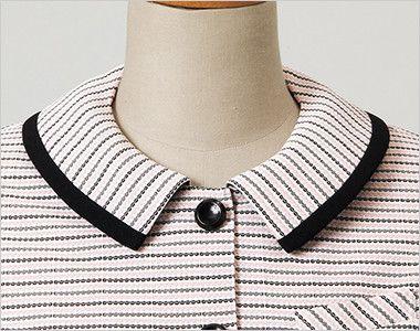en joie(アンジョア) 26500 [春夏用]安心感を与え動きやすいニット素材のオーバーブラウス(リボン付) ボーダー リボンを外したときのすっきりとした襟元