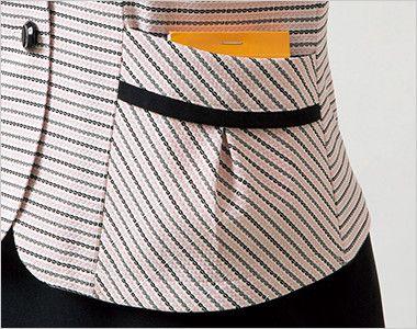 en joie(アンジョア) 26500 [春夏用]安心感を与え動きやすいニット素材のオーバーブラウス(リボン付) ボーダー メモ帳などが入るタック付きの両脇ポケット