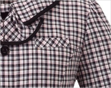 en joie(アンジョア) 26530 [春夏用]落ち着いた印象で肩パッドなしの快適な着心地!チェック柄オーバーブラウス シンプルなポケット